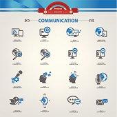Communication concept icons,Blue version,vector