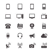 Communication device flat icons