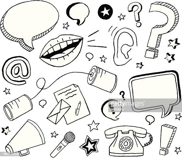 communication doodles - microphone transmission stock illustrations
