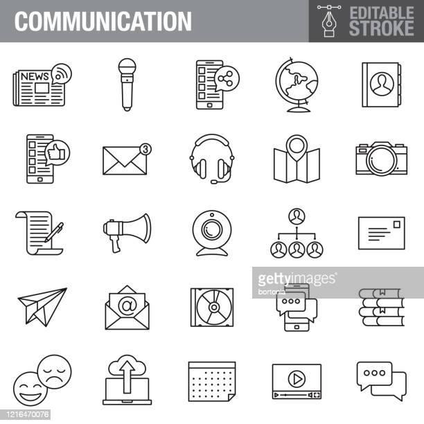 通信編集可能ストロークアイコンセット - クラウドソーシング点のイラスト素材/クリップアート素材/マンガ素材/アイコン素材