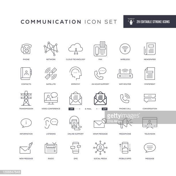 communication editable stroke line icons - computer network stock illustrations