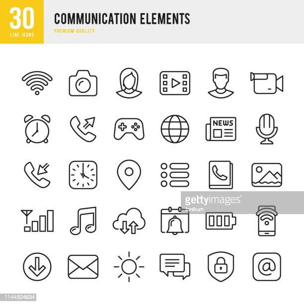 stockillustraties, clipart, cartoons en iconen met communicatie-elementen-set van dunne lijn vector iconen - de media