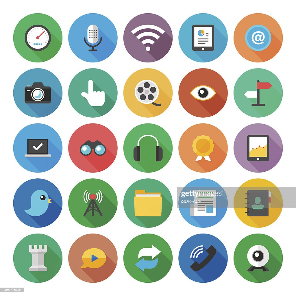 Communication flat icon collection