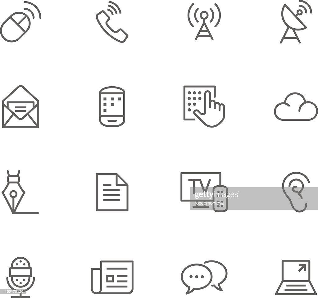 Communication flat simple icons set