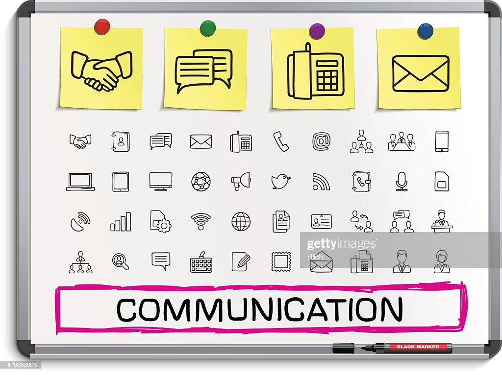Communication hand drawing line icons.