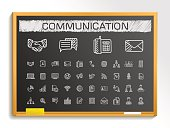 Communication hand drawing sketch icons set. Vector doodle blackboard illustration
