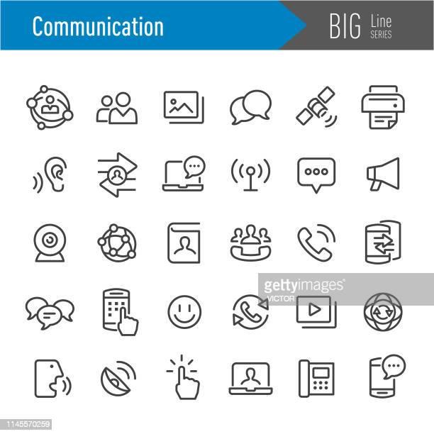 communication icon - big line series - touching stock illustrations