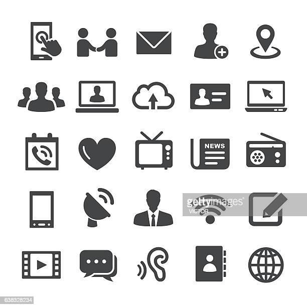 illustrazioni stock, clip art, cartoni animati e icone di tendenza di set di icone di comunicazione - smart series - organizzatore elettronico