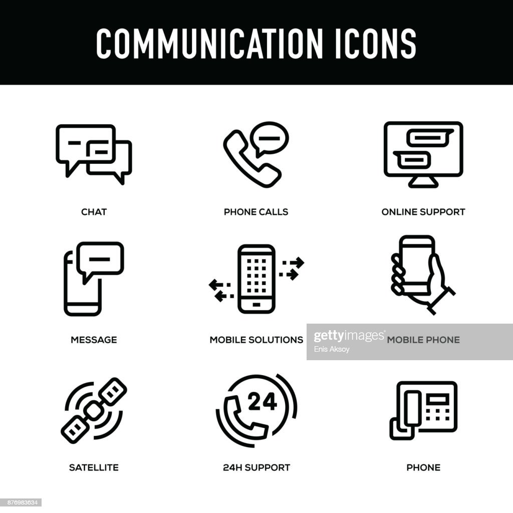 Communication Icon Set - Thick Line Series : stock illustration