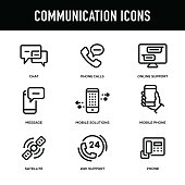 Communication Icon Set - Thick Line Series