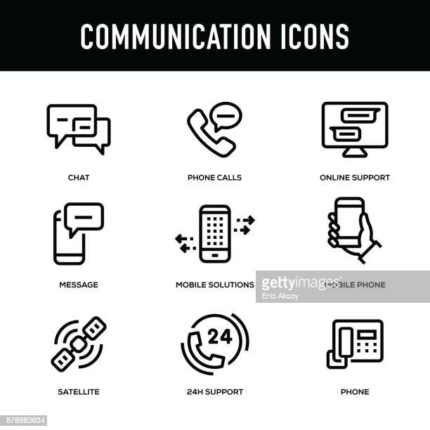 communication icon set - thick line series - mobile phone stock illustrations