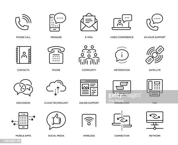 illustrazioni stock, clip art, cartoni animati e icone di tendenza di set di icone di comunicazione - video chiamata