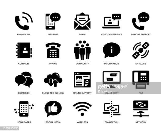 communication icon set - e mail stock illustrations