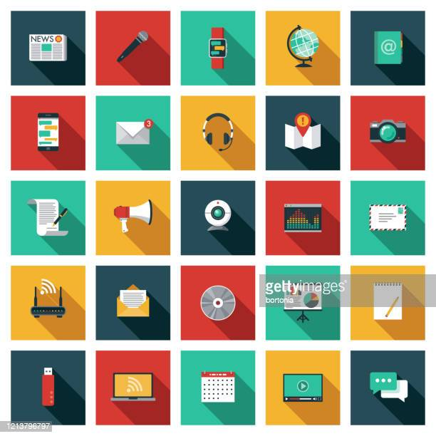 communication icon set - color image stock illustrations