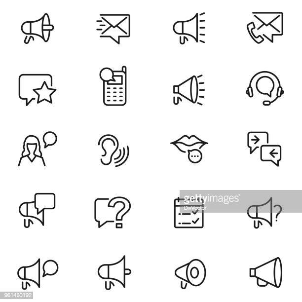 communication icon set - ear stock illustrations