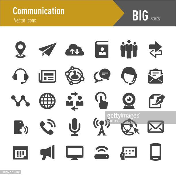 communication icons - big series - microphone transmission stock illustrations