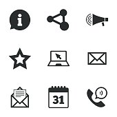 Communication icons. Contact, mail signs