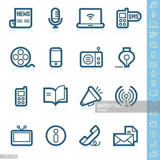 communication icons | contour series - information symbol stock illustrations, clip art, cartoons, & icons