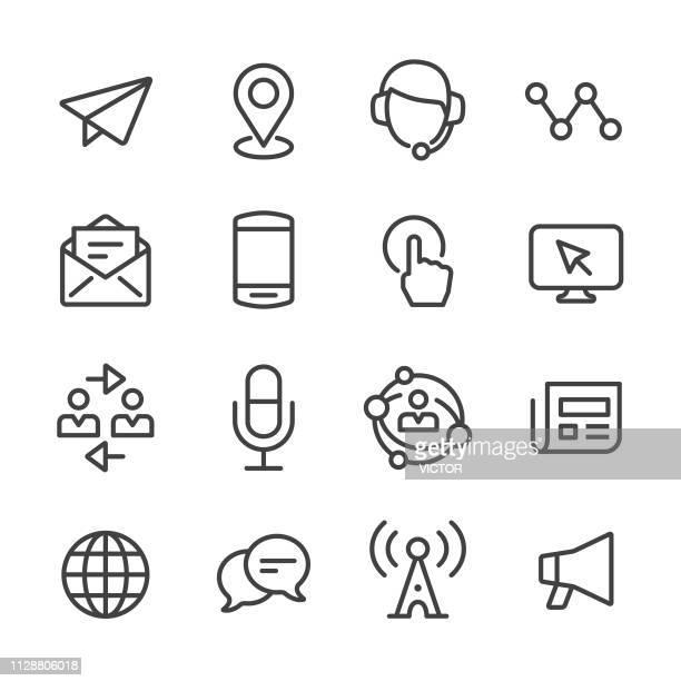 kommunikation-symbole - line serie - mobilität stock-grafiken, -clipart, -cartoons und -symbole