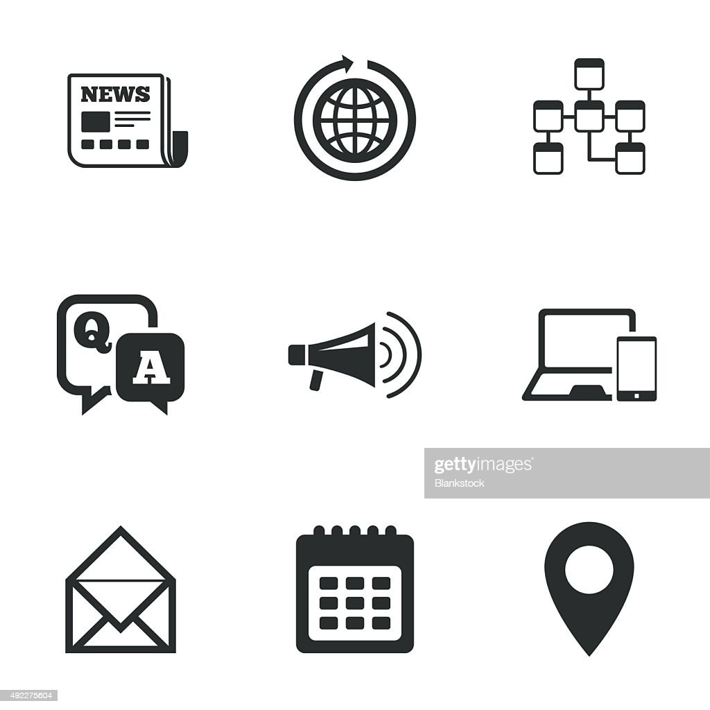 Communication icons. News, chat messages signs