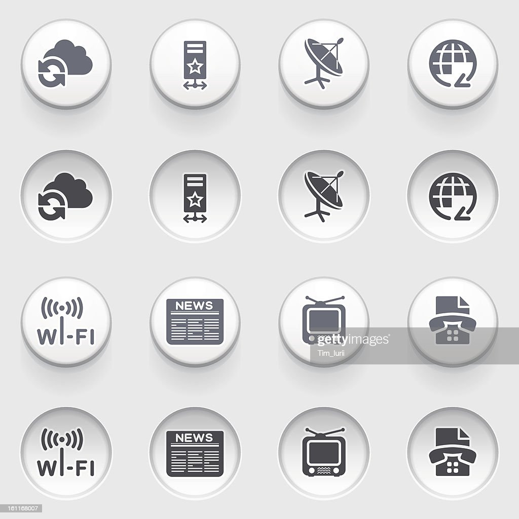 Communication icons on white buttons.