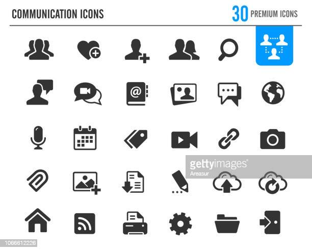 communication icons // premium series - microphone transmission stock illustrations