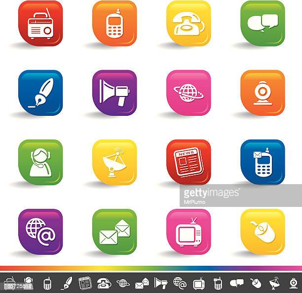 communication icons | rainbow series - webcam media apparaat stock illustrations