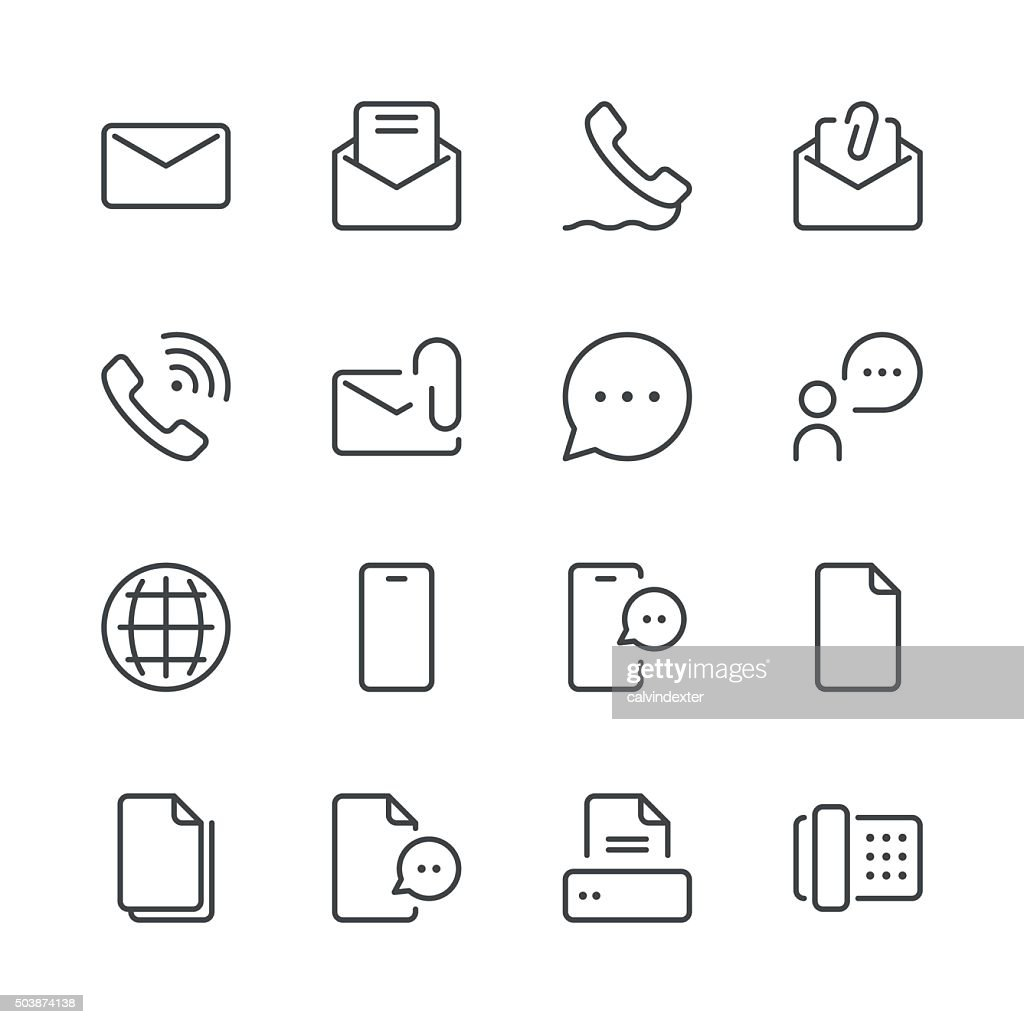 Communication Icons set 1 | Black Line series : stock illustration