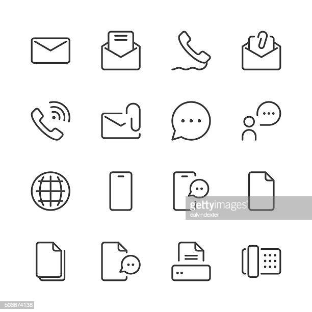 communication icons set 1 | black line series - simplicity stock illustrations, clip art, cartoons, & icons
