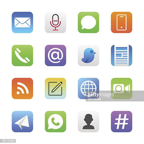 communication icons set 1 | manhattan series - mobile app stock illustrations