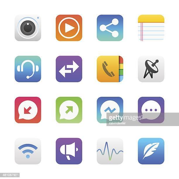 Communication icons set 2   Manhattan series