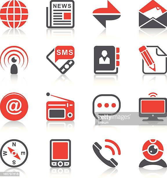 communication icons set 2 - webcam media apparaat stock illustrations