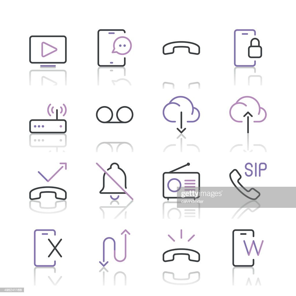 Communication Icons set 3 | Purple Line series
