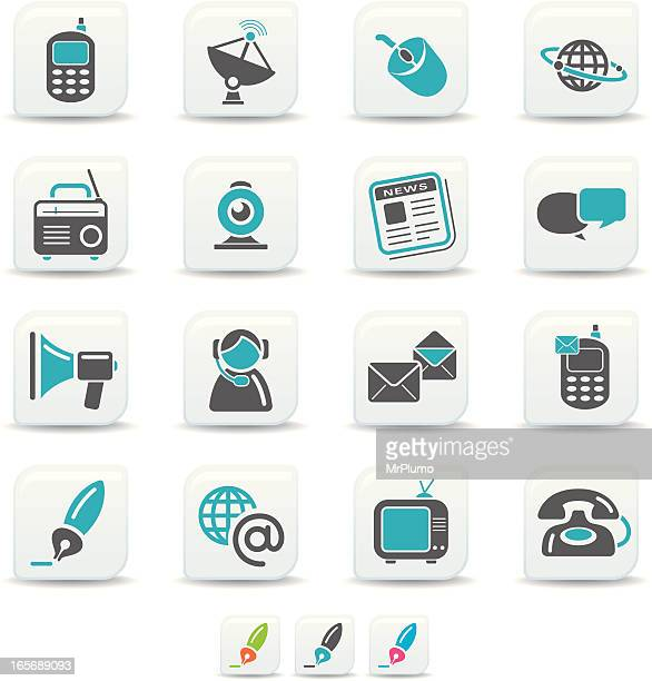 communication icons | simicoso collection - webcam media apparaat stock illustrations
