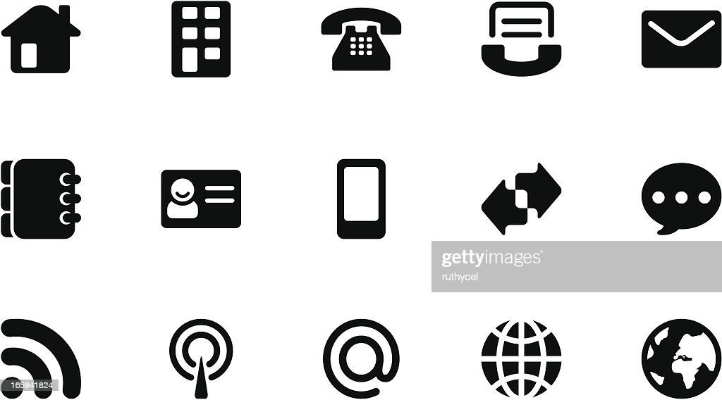 Communication icons . Simple black