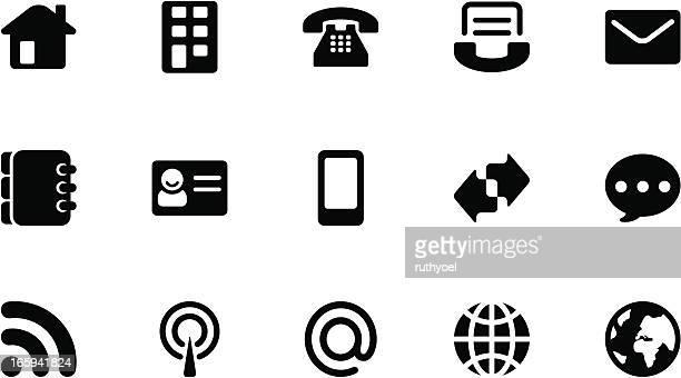 ilustraciones, imágenes clip art, dibujos animados e iconos de stock de iconos de comunicación. negro simple - tarjeta de archivo