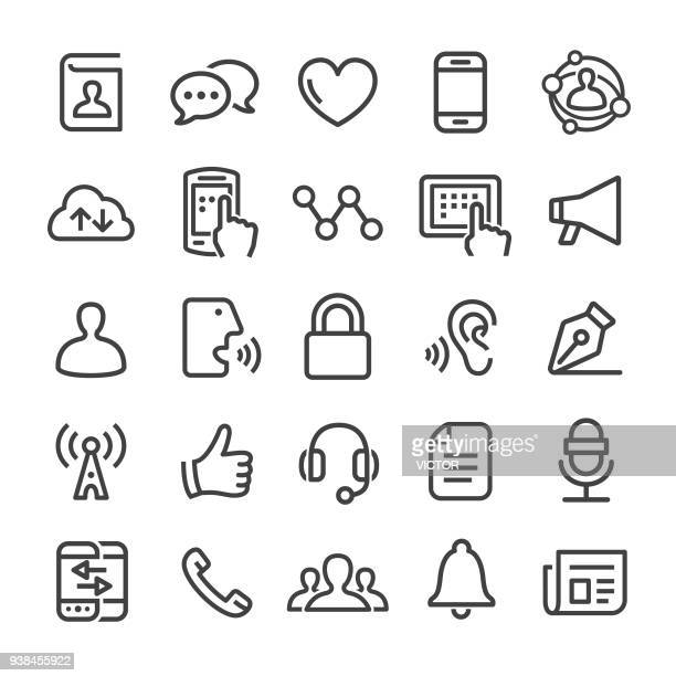 communication icons - smart line series - interactivity stock illustrations, clip art, cartoons, & icons