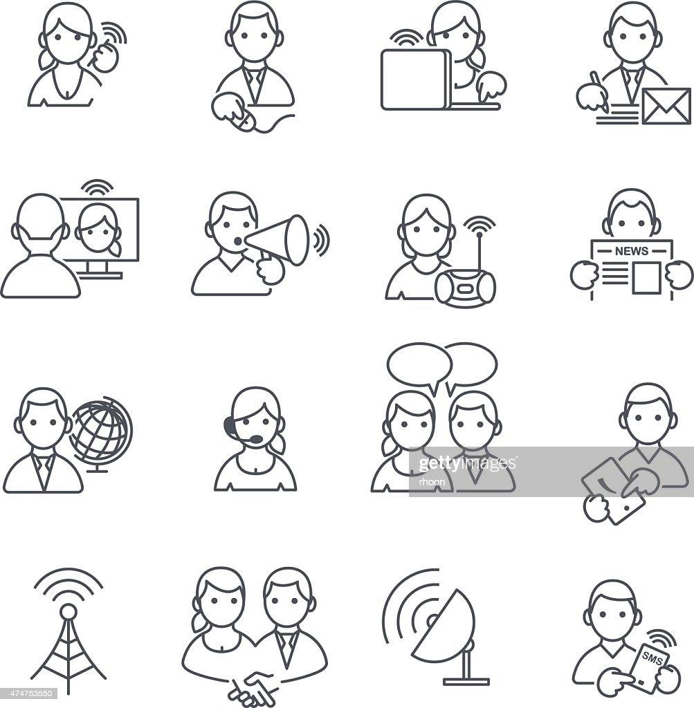 Communication icons thin line.