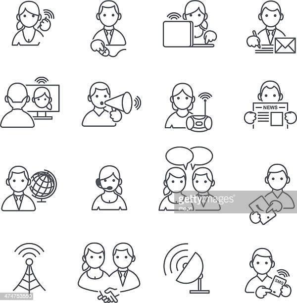 stockillustraties, clipart, cartoons en iconen met communication icons thin line. - voip