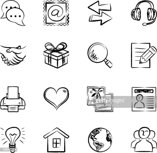 kommunikation icons - skizze stock-grafiken, -clipart, -cartoons und -symbole