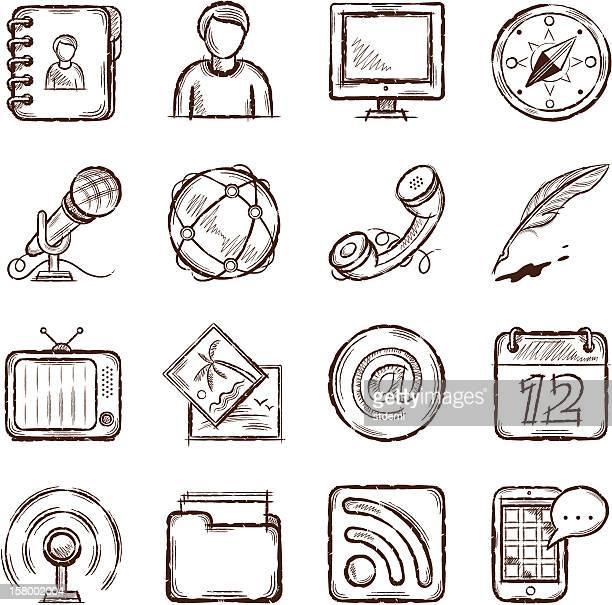communication icons - quill pen stock illustrations