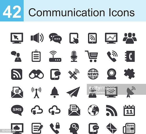 communication icons - video conference stock illustrations