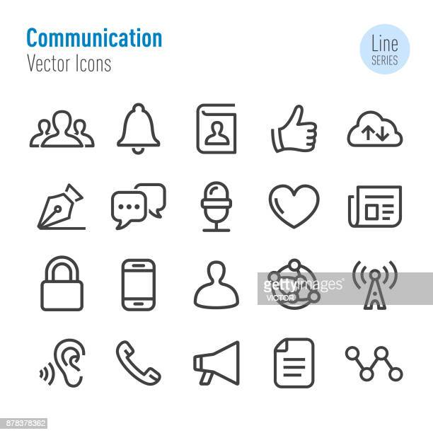 communication icons - vector line series - microphone transmission stock illustrations