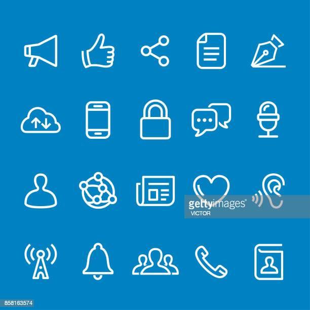 ilustrações, clipart, desenhos animados e ícones de ícones de comunicação - vetor linha inteligente série - escutando