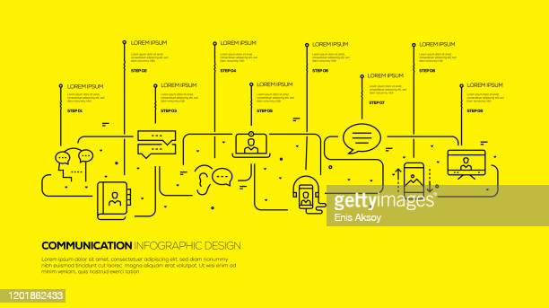 communication infographic template - flowing stock illustrations