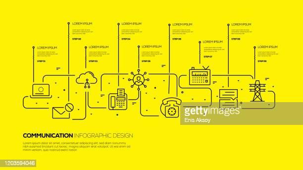 stockillustraties, clipart, cartoons en iconen met infographic-sjabloon voor communicatie - monochroom