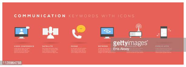 communication keywords with icons - video conference stock illustrations