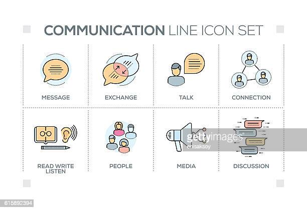 Communication keywords with line icons