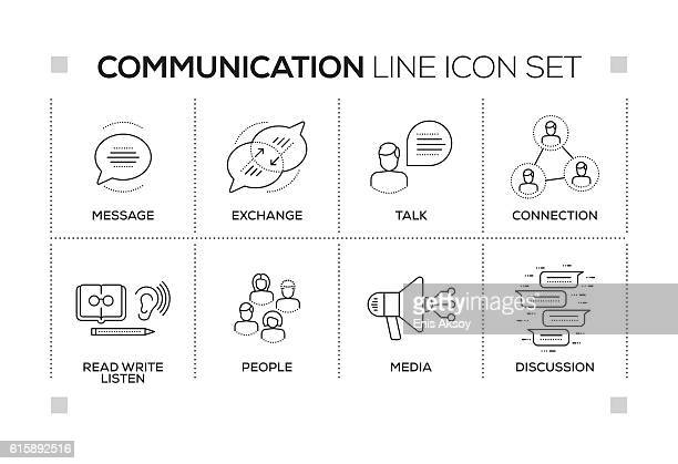 Communication keywords with monochrome line icons