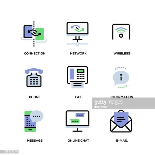communication line icon set - answering machine stock illustrations, clip art, cartoons, & icons